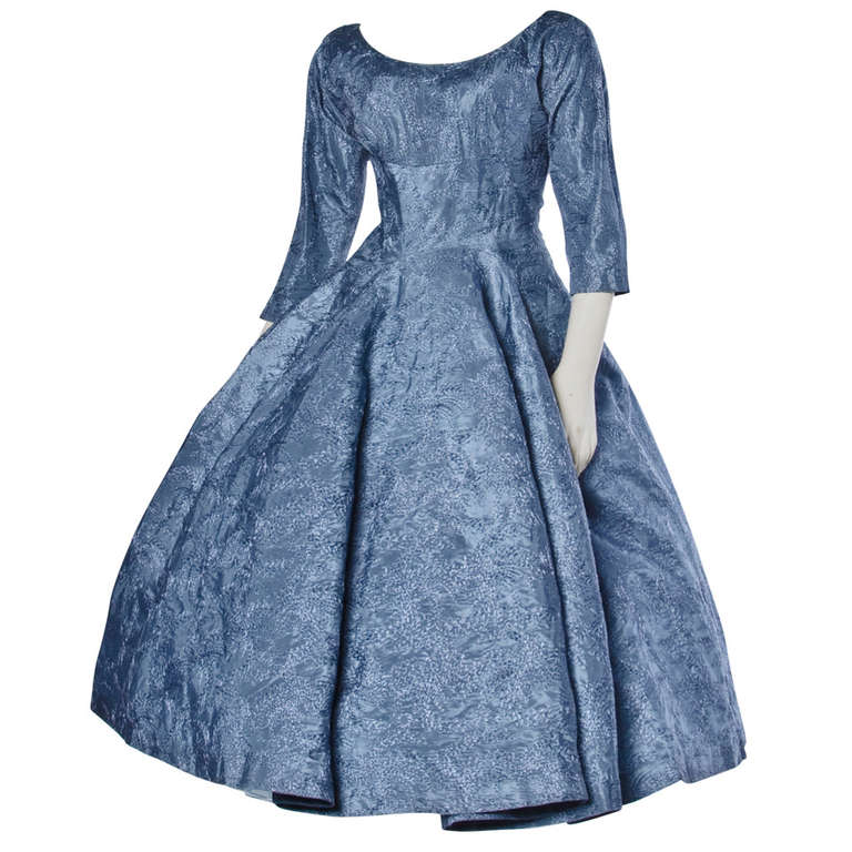 Vintage 1950s 50s Blue Gray Embroidered Tulle Party Formal Cocktail ...