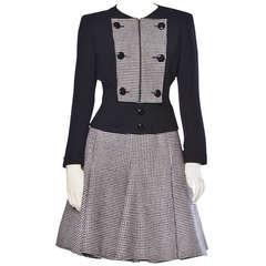 Valentino Vintage Houndstooth Cashmere Wool 2-Piece Set Skirt + Jacket Suit