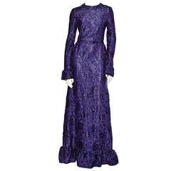 Rare 70s Unworn Vintage Hubert de Givenchy 1971 Deadstock Purple Dress