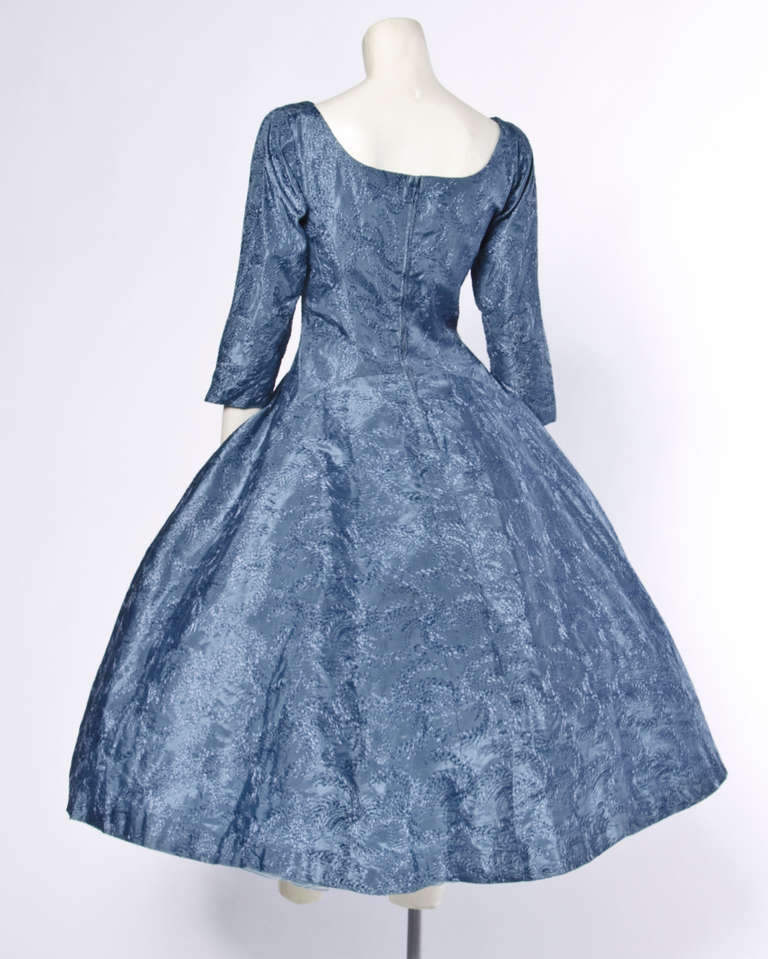 Vintage 1950s 50s Blue Gray Embroidered Tulle Party Formal Cocktail Dress 3