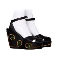 Incredible David Evins Vintage 1940s Rhinestone Silk Satin Platform Shoes 8A 37