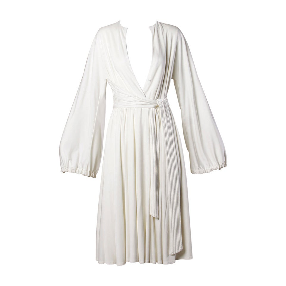 Donald Brooks Vintage 1970s White Draped Midi Dress For Sale