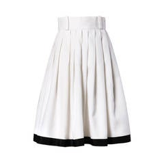Anne Fogarty Vintage Black + White Linen Pleated Skirt