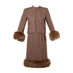 Richilene for Elizabeth Arden Vintage Fox Fur Jacket + Dress Ensemble