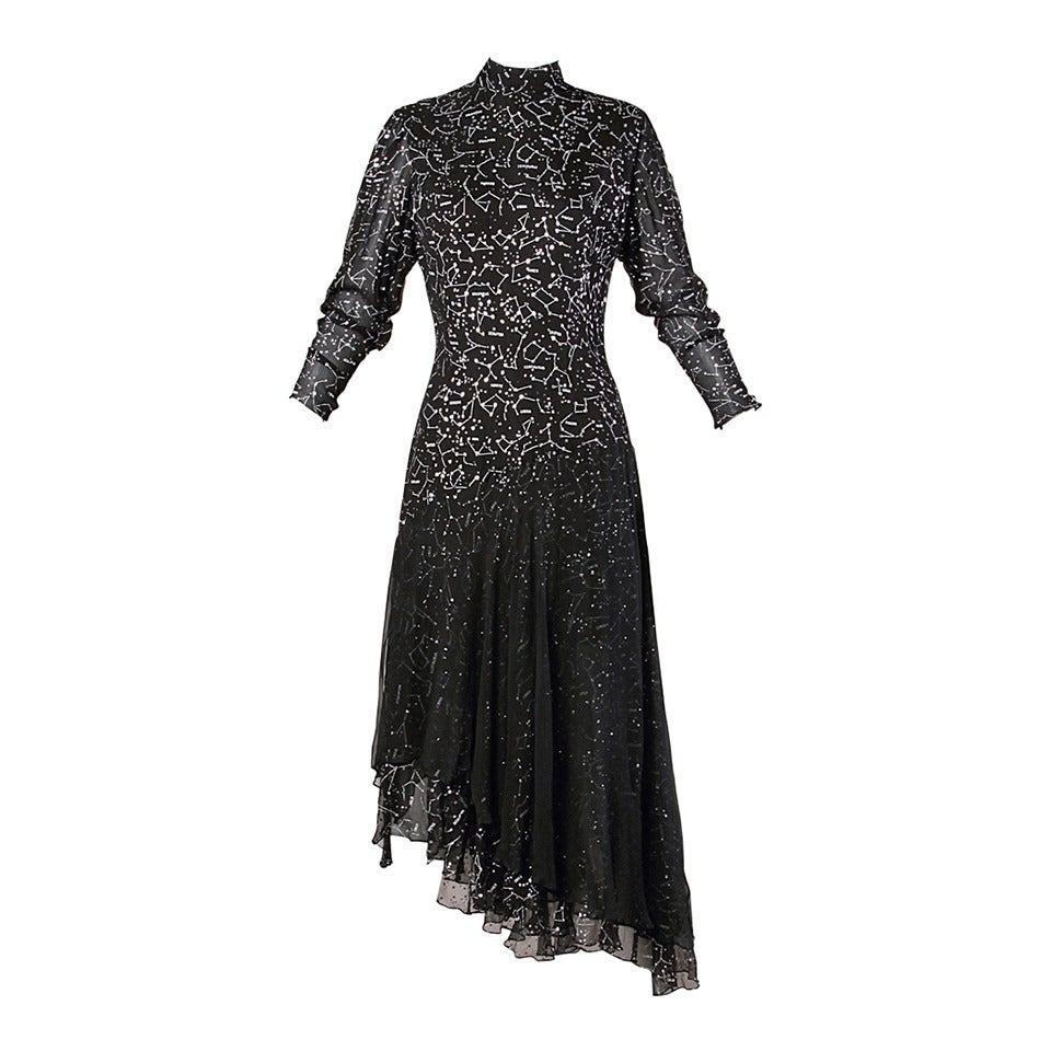 "Hanae Mori Vintage ""Constellation + Stars Map"" Silk Chiffon Gown For Sale"