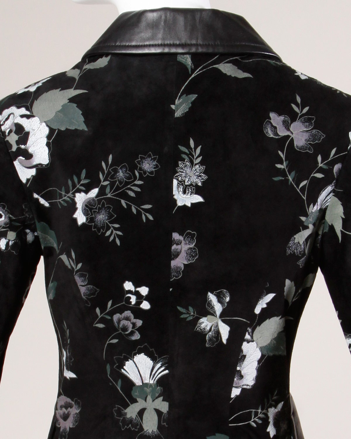 Michael Hoban for North Beach Leather Vintage Black Floral Jacket For Sale 1