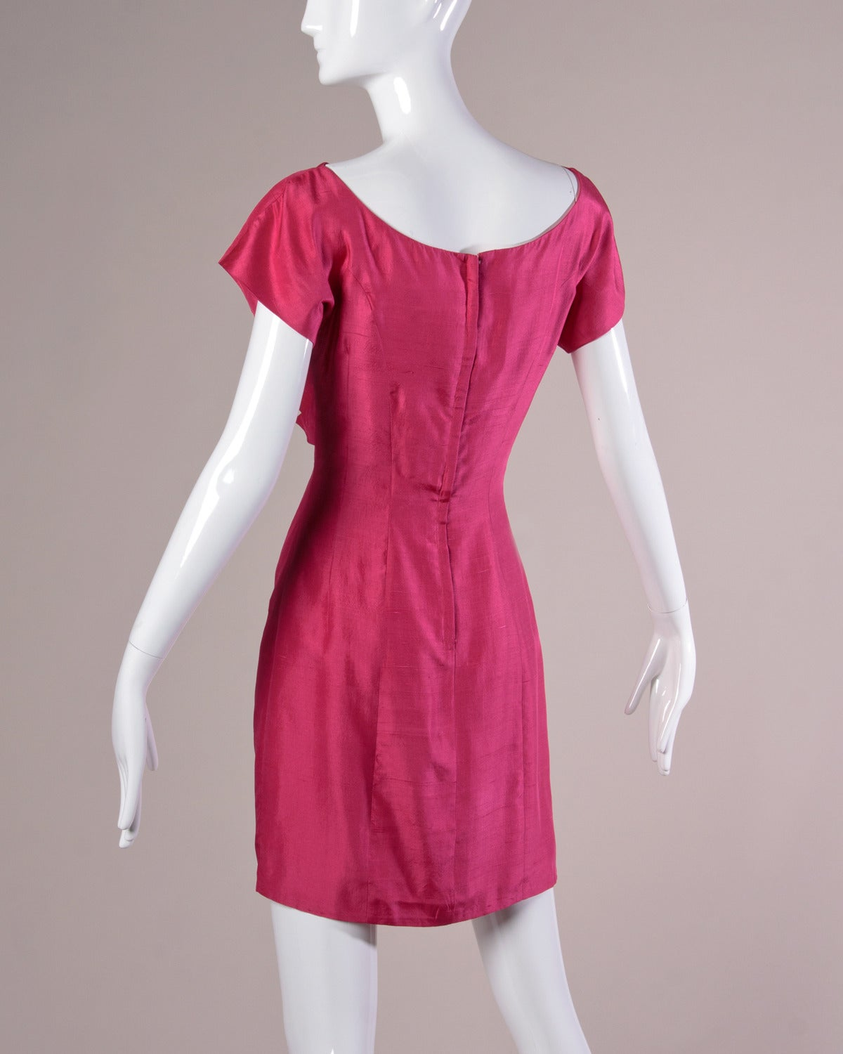 Sydney North Vintage 1960s Fuchsia Silk Cocktail Dress In Excellent Condition For Sale In Sparks, NV