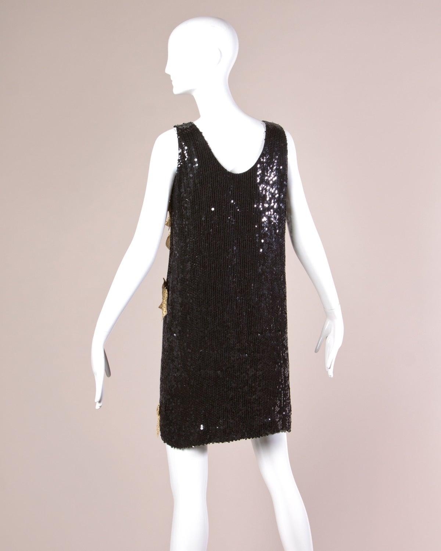 Jeanette Kastenberg Vintage Black Sequin Shift Dress with Metallic Gold Bows In Excellent Condition For Sale In Sparks, NV