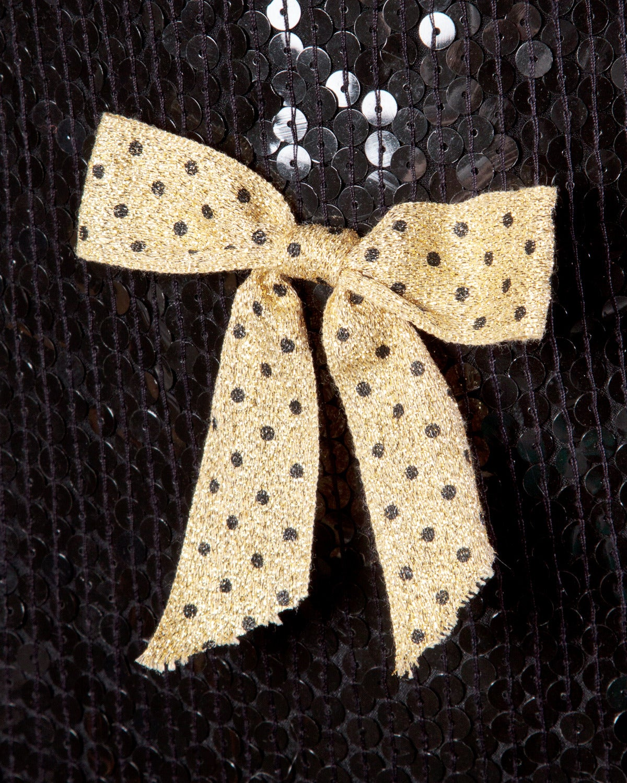 Jeanette Kastenberg Vintage Black Sequin Shift Dress with Metallic Gold Bows For Sale 1