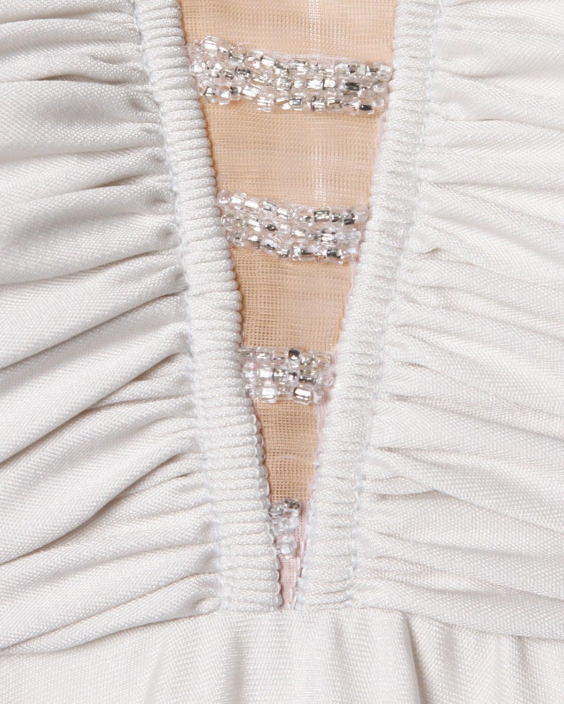 Lilli Diamond Vintage 1970s Pale Gray Beaded Empire Maxi Dress For Sale 1