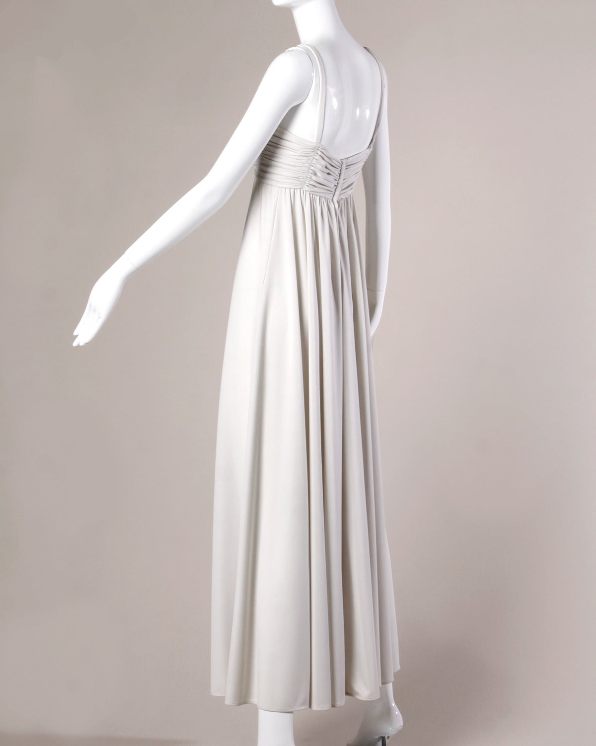 Lilli Diamond Vintage 1970s Pale Gray Beaded Empire Maxi Dress In Excellent Condition For Sale In Sparks, NV