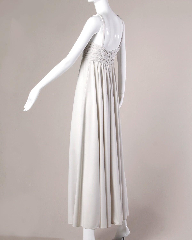 Lilli Diamond Vintage 1970s Pale Gray Beaded Empire Maxi Dress 3