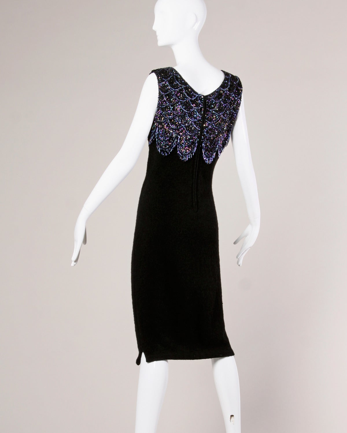 Women's 1960s Vintage Black Wool Knit Cocktail Dress with Iridescent Blue Beading For Sale