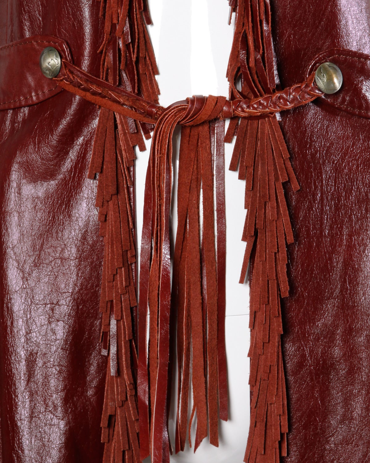 Char Vintage Oxblood Leather Vest with Fringe Trim For Sale 1