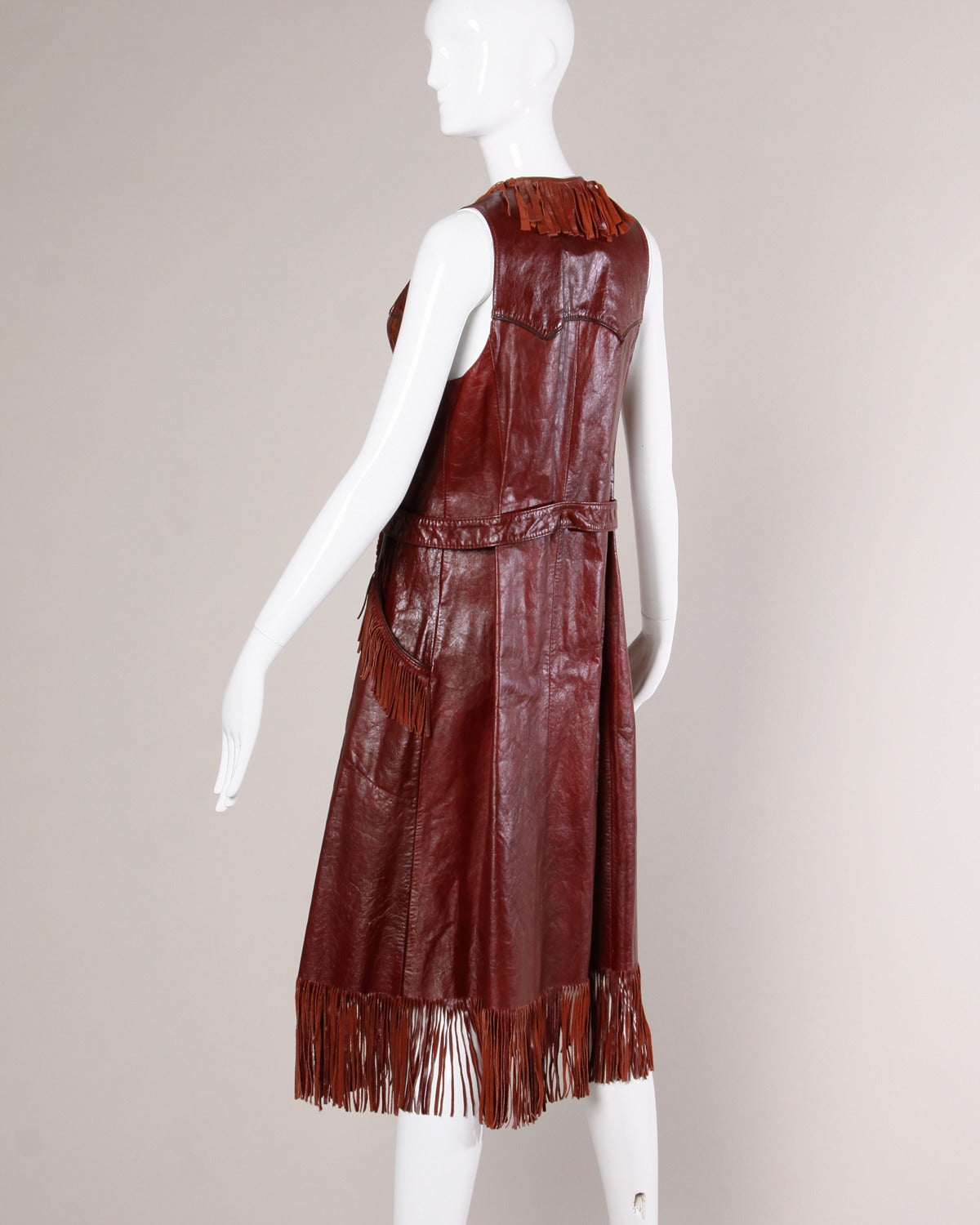 Brown Char Vintage Oxblood Leather Vest with Fringe Trim For Sale
