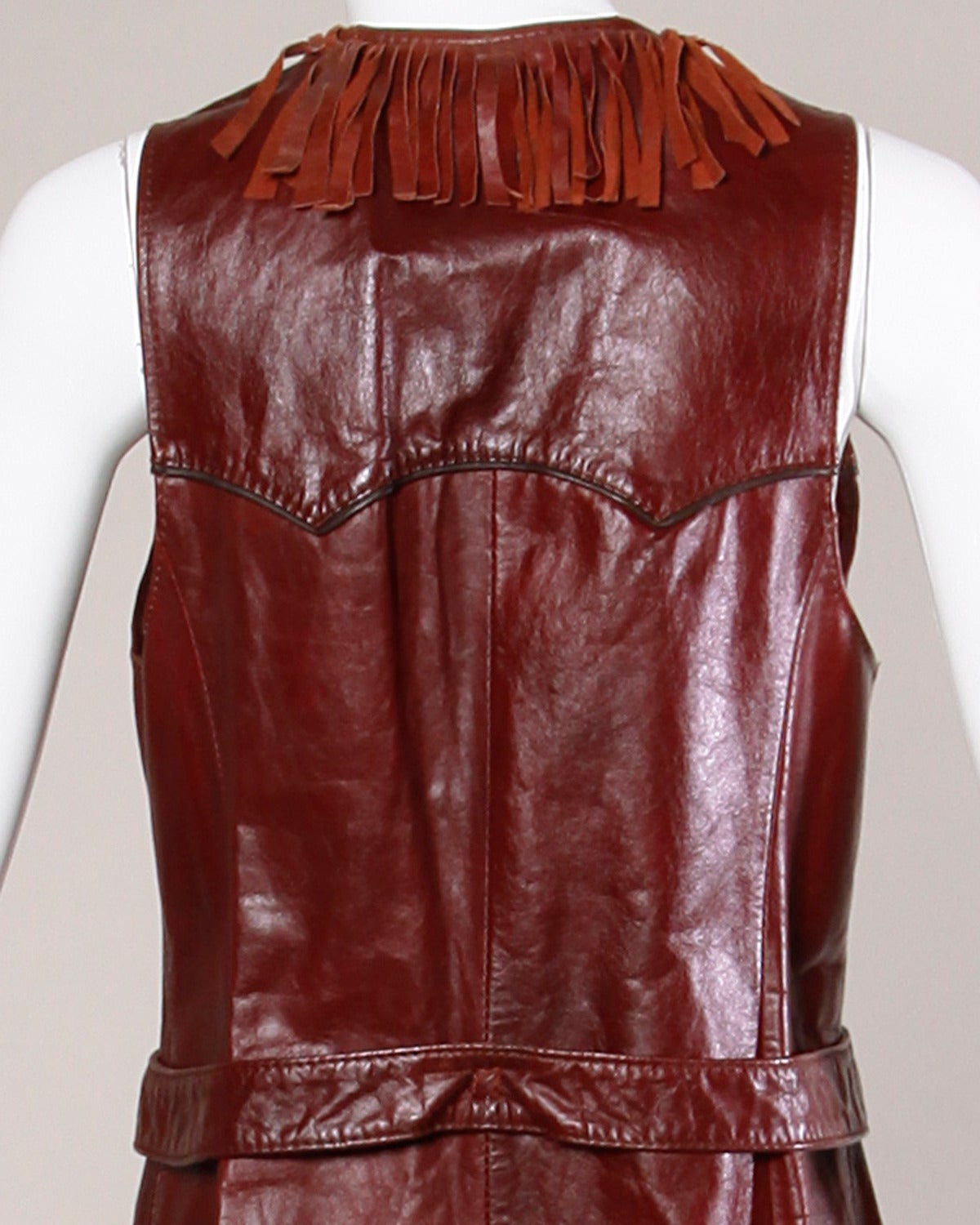 Women's Char Vintage Oxblood Leather Vest with Fringe Trim For Sale