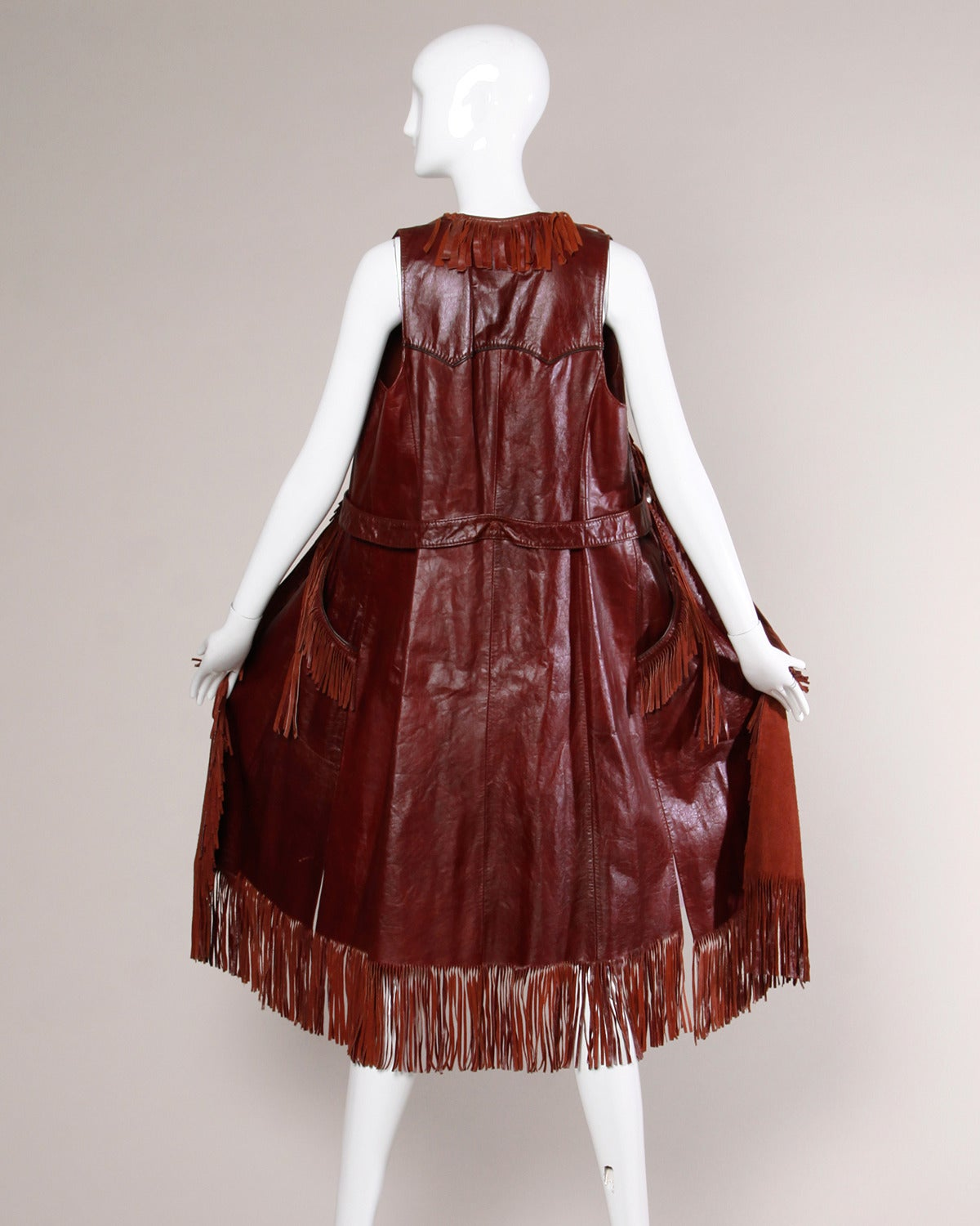 Char Vintage Oxblood Leather Vest with Fringe Trim For Sale 2