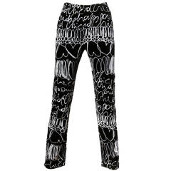 "Moschino Vintage 1990s 90s Velour ""Cheap & Chic"" Scribble Print Pants"