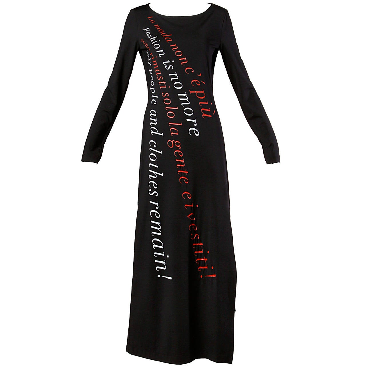 "Moschino Vintage 1990s 90s ""Fashion is No More..."" Maxi Dress 1"