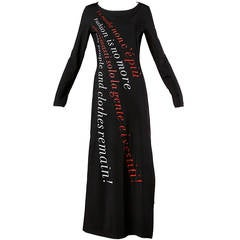 "Moschino Vintage 1990s 90s ""Fashion is No More..."" Maxi Dress"