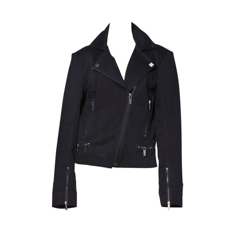"Karl Lagerfeld Black Motorcycle Jacket with ""Karl"" Zipper Pulls and Studs For Sale"