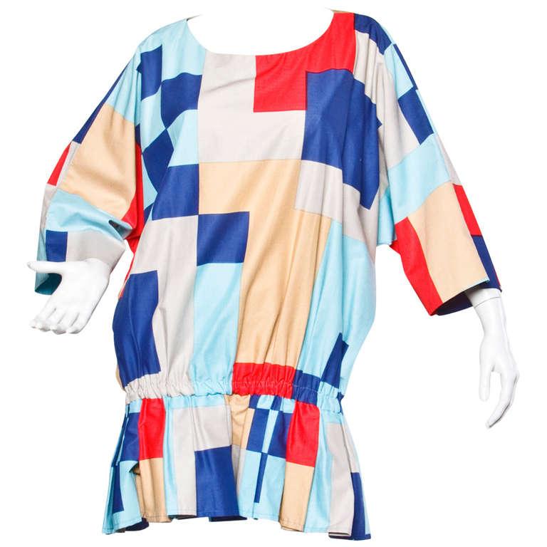 Marimekko Vintage 1980s 80s Textile Print Color Block Avant Garde Batwing Dress