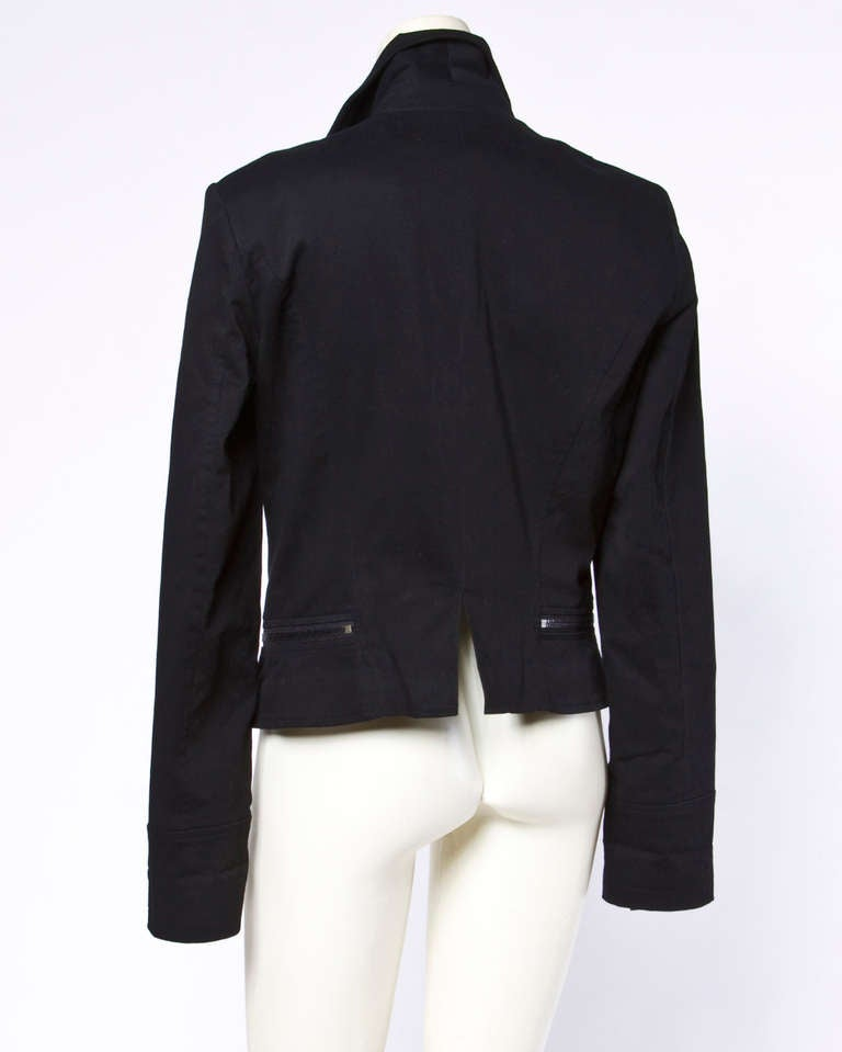"Karl Lagerfeld Black Motorcycle Jacket with ""Karl"" Zipper Pulls and Studs For Sale 4"