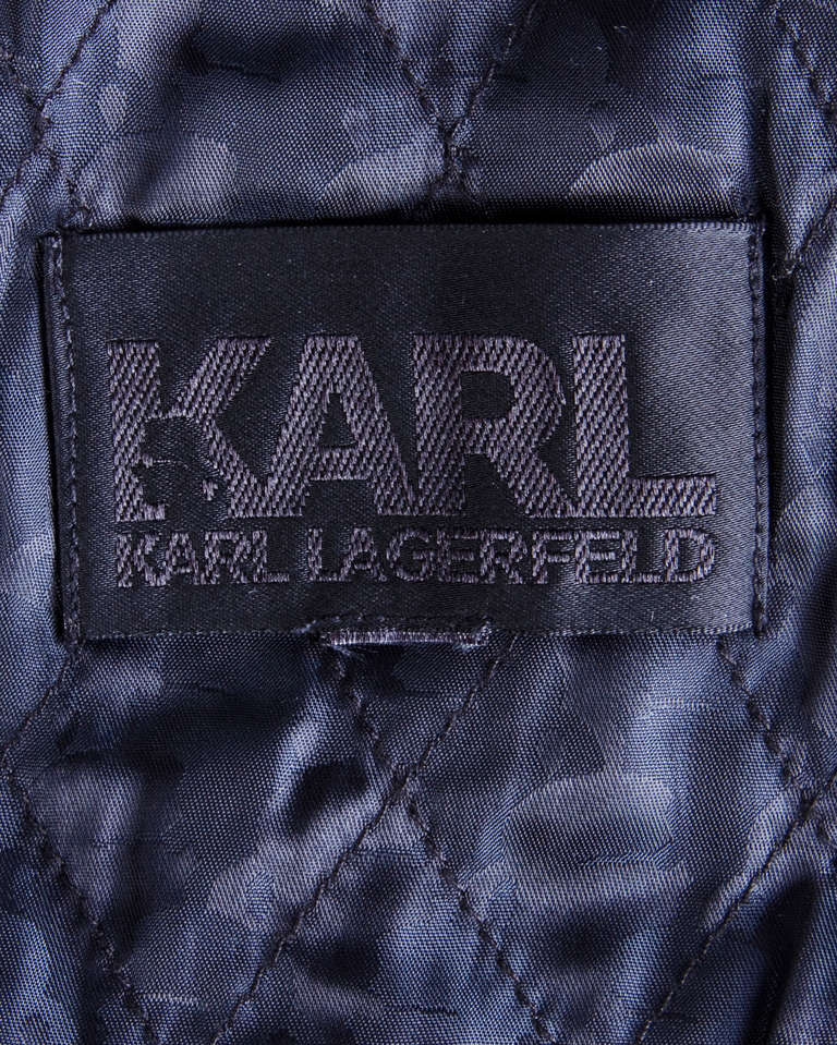 "Karl Lagerfeld Black Motorcycle Jacket with ""Karl"" Zipper Pulls and Studs For Sale 2"