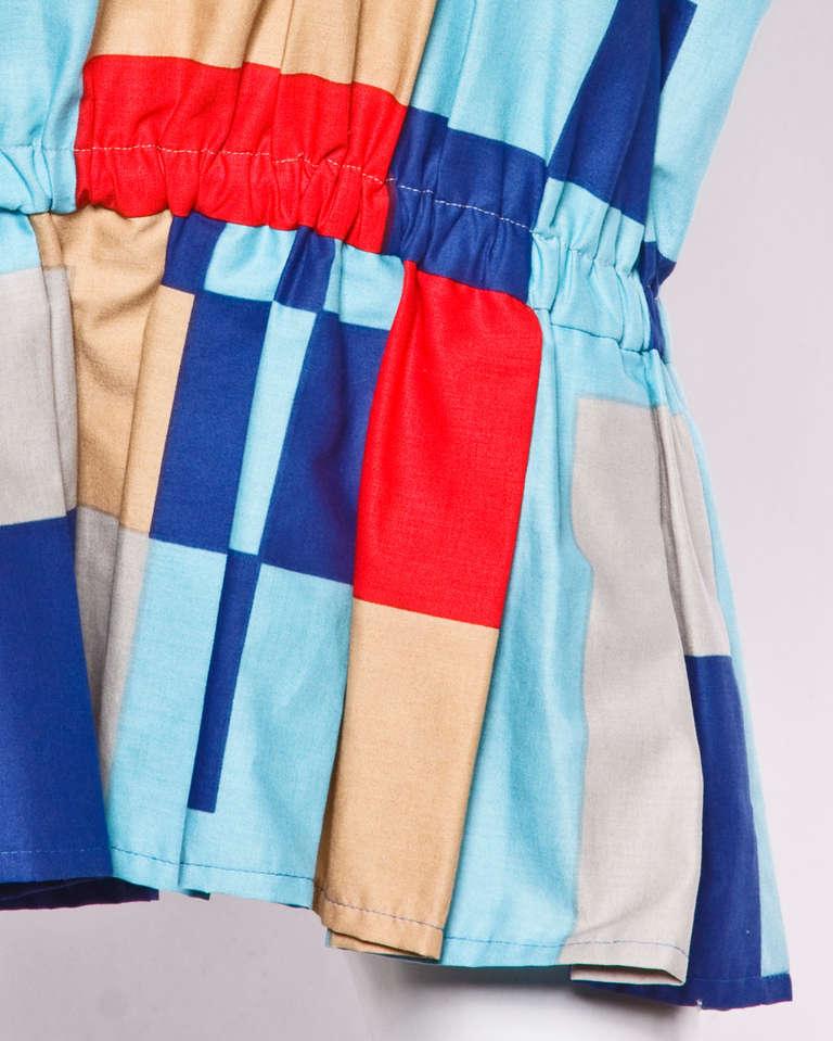 Women's Marimekko Vintage 1980s 80s Textile Print Color Block Avant Garde Batwing Dress For Sale