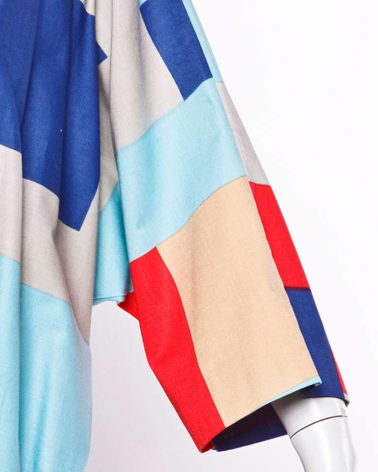 Gray Marimekko Vintage 1980s 80s Textile Print Color Block Avant Garde Batwing Dress For Sale