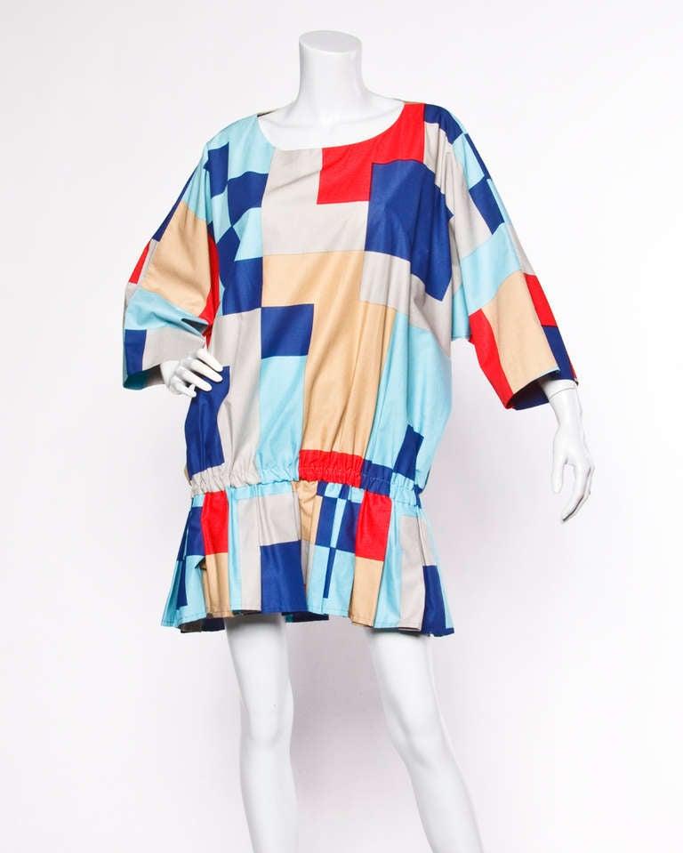Marimekko Vintage 1980s 80s Textile Print Color Block Avant Garde Batwing Dress In Excellent Condition For Sale In Sparks, NV