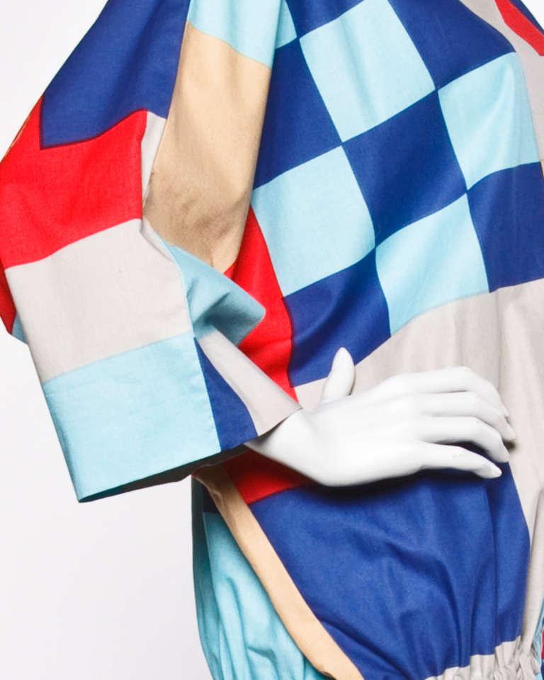 Marimekko Vintage 1980s 80s Textile Print Color Block Avant Garde Batwing Dress For Sale 2