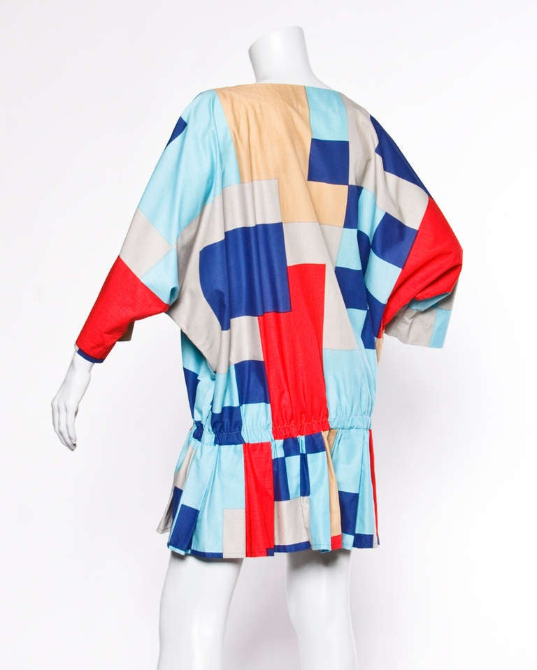 Marimekko Vintage 1980s 80s Textile Print Color Block Avant Garde Batwing Dress For Sale 1