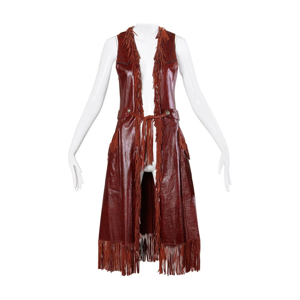 Char Vintage Oxblood Leather Vest with Fringe Trim For Sale
