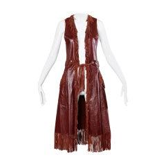 Char Vintage Oxblood Leather Vest with Fringe Trim