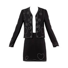 Moschino Vintage 1990s 90s Stitched Heart Jacket + Skirt Suit Ensemble