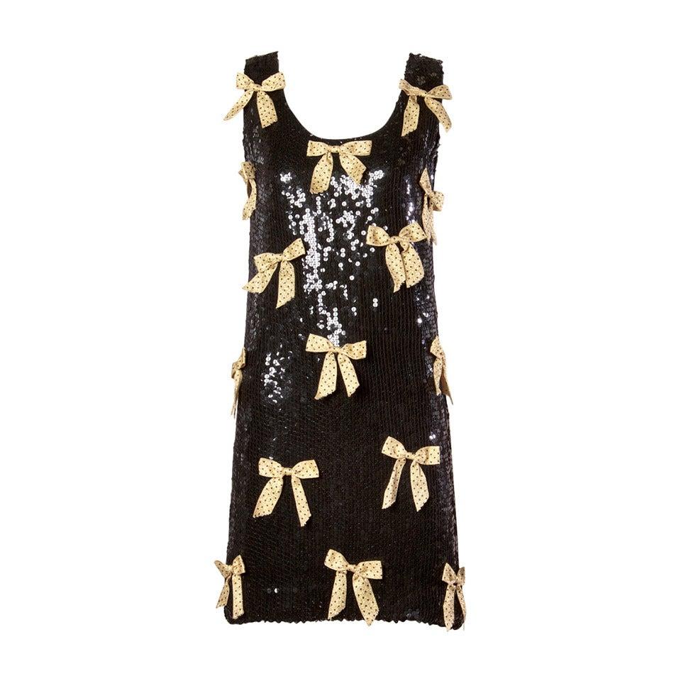 Jeanette Kastenberg Vintage Black Sequin Shift Dress with Metallic Gold Bows For Sale