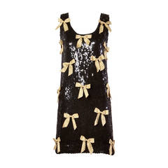 Jeanette Kastenberg Vintage Black Sequin Shift Dress with Metallic Gold Bows