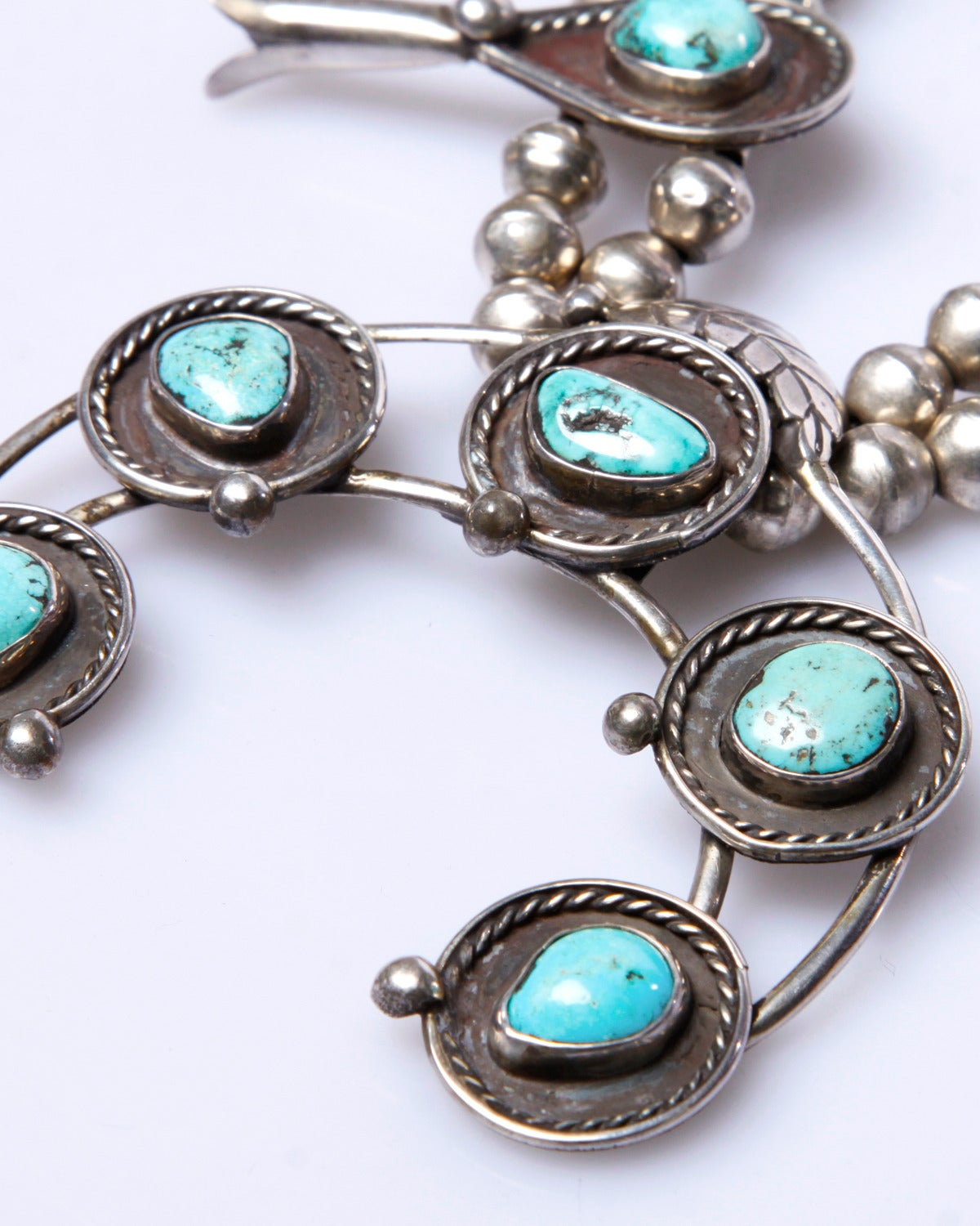 Native American Massive Vintage Old Pawn Sterling Silver + Turquoise Squash Blossom Necklace For Sale
