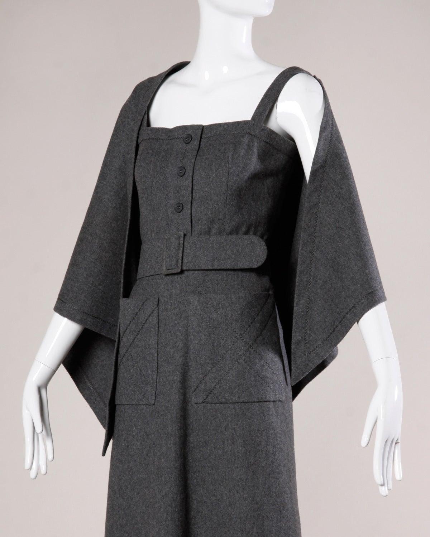 Jean Patou Vintage 1960s Wool 3-Piece Belt, Wrap & Dress Ensemble 2