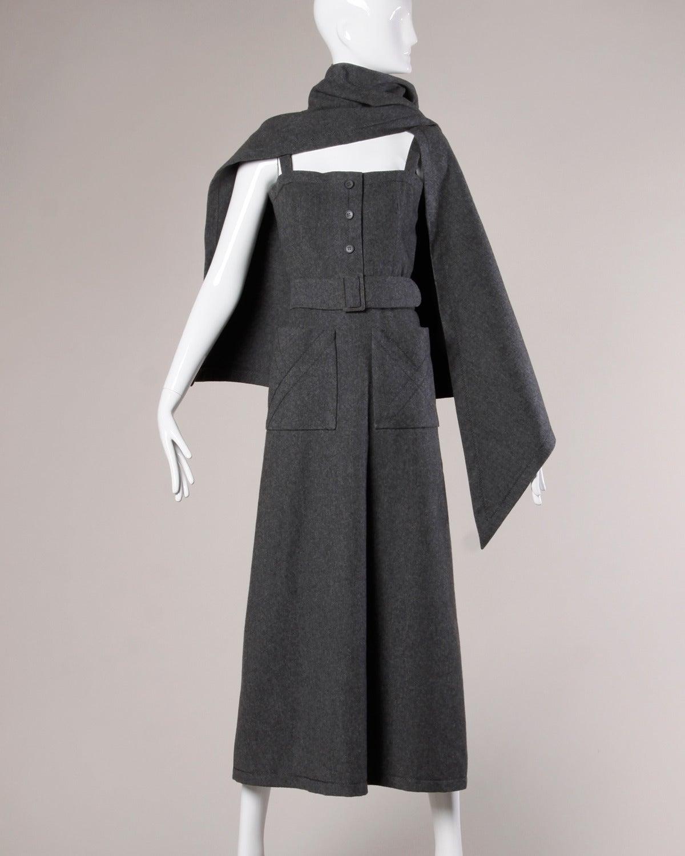 Jean Patou Vintage 1960s Wool 3-Piece Belt, Wrap & Dress Ensemble 8