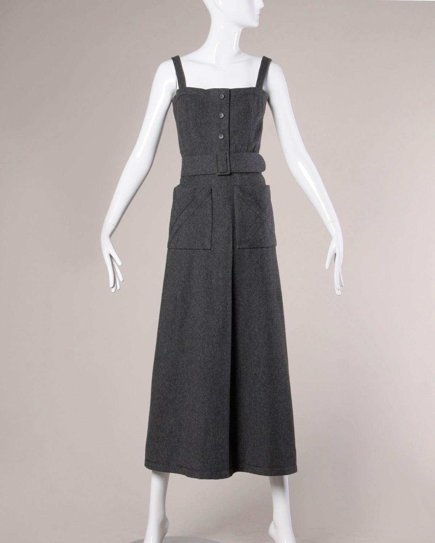 Jean Patou Vintage 1960s Wool 3-Piece Belt, Wrap & Dress Ensemble 3