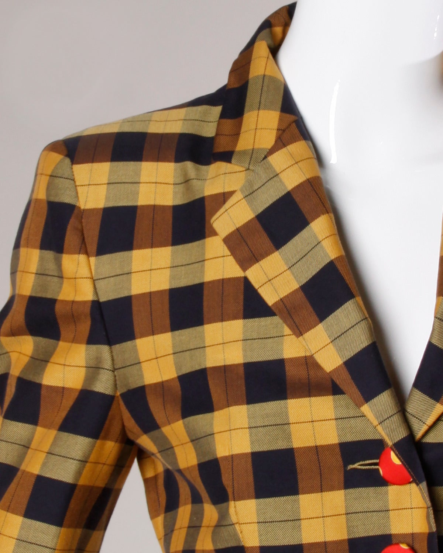 Moschino Vintage 1990s Plaid + Polka Dot Blazer Jacket For Sale 3