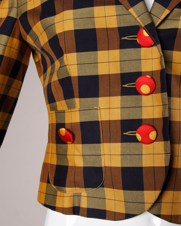 Women's Moschino Vintage 1990s Plaid + Polka Dot Blazer Jacket For Sale