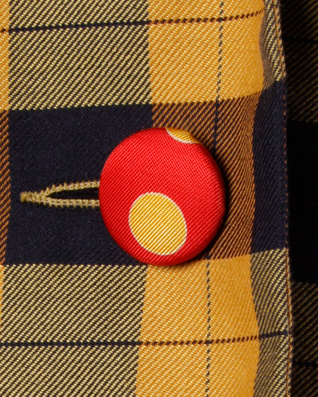 Brown Moschino Vintage 1990s Plaid + Polka Dot Blazer Jacket For Sale