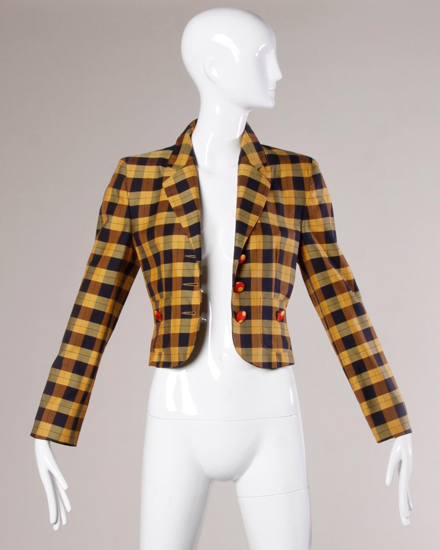 Moschino Vintage 1990s Plaid + Polka Dot Blazer Jacket 2