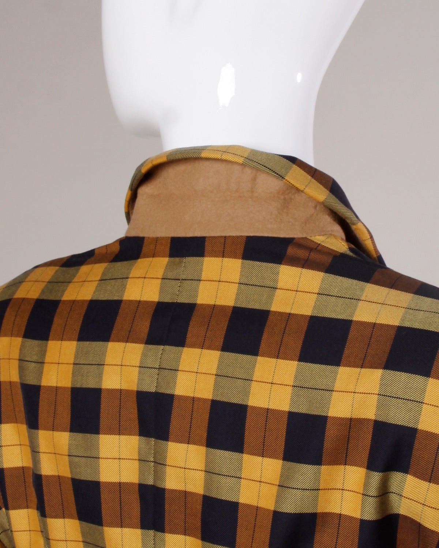 Moschino Vintage 1990s Plaid + Polka Dot Blazer Jacket For Sale 1