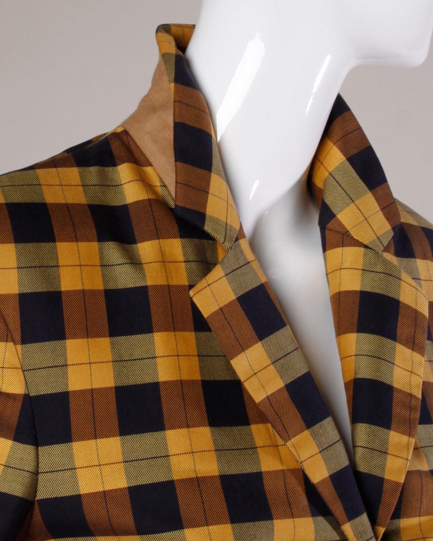 Moschino Vintage 1990s Plaid + Polka Dot Blazer Jacket For Sale 2