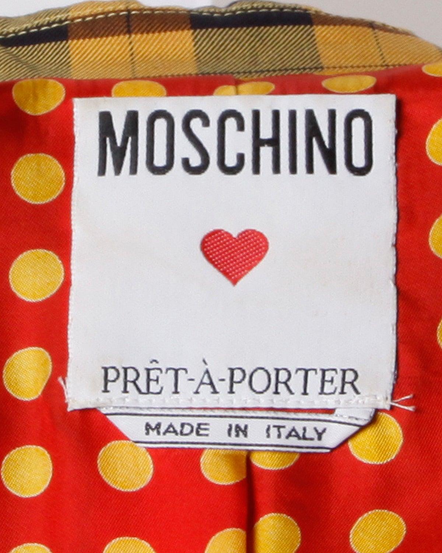Moschino Vintage 1990s Plaid + Polka Dot Blazer Jacket For Sale 4