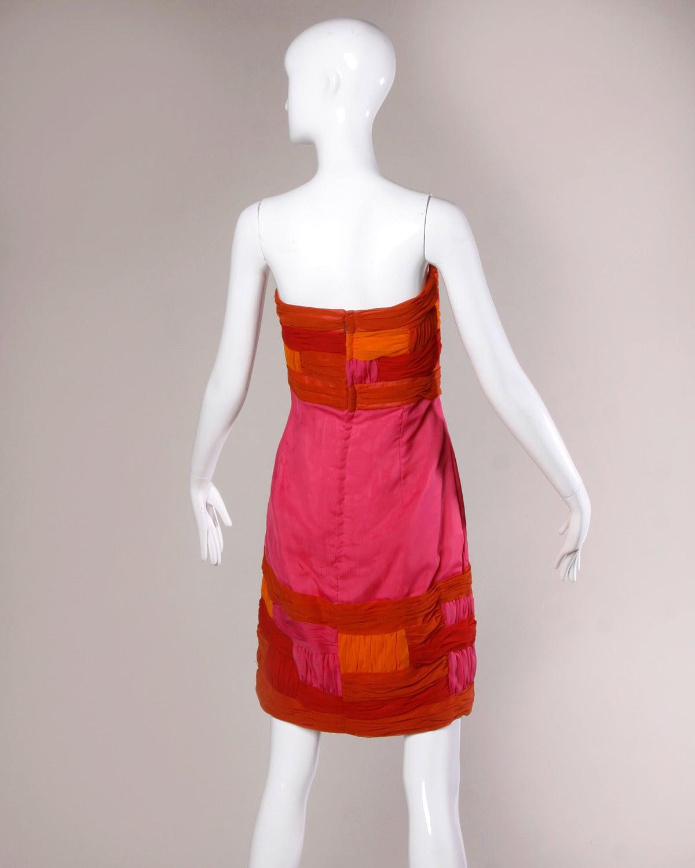 Vintage 1940s Color Block Swag Dress: 1960s Vintage Strapless Color Block Cocktail Dress At 1stdibs